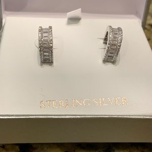 Sterling Silver! Pave Cubic Zirconia Earrings!